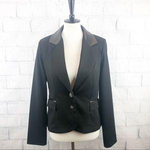 Willow & Clay Faux Leather Trim Blazer Jacket